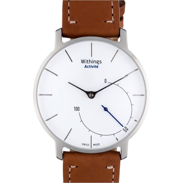 montre connectee withings blanc bracelet cuir marron